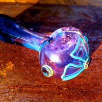 Gorgeous Purple and Blue Color Changing PIpe with Turquoise  Flower