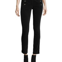 Veronica Beard Jane Skinny Velvet Sailor Pants w/ Button Trim