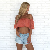 Rust & Shine Off Shoulder Crop Top