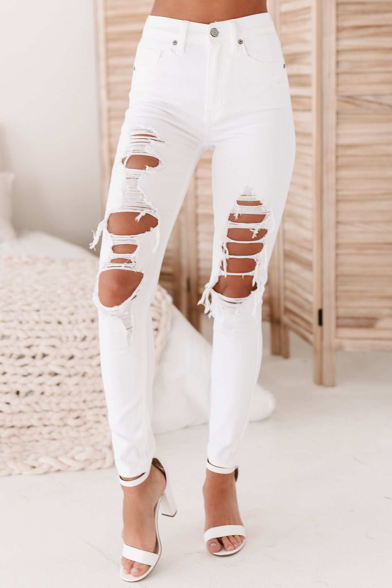 Image of Cassandra High Rise Distressed Skinny Jeans (White Tie)