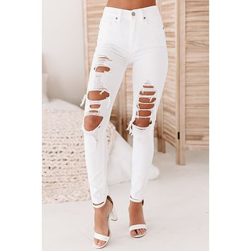 Cassandra High Rise Distressed Skinny Jeans (White Tie)