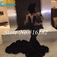New African Organza Black Mermaid Prom Dresses Fast Shipping 2016 Organza Ruffles Long Prom Party Dress For Graduation