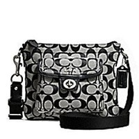 Coach Signature Swingpack Crossbody Bag, Style 45026 Black White