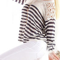 Striped Cut Out Lace Sleeve Knitwear Sweater