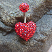 Pave RED crystal LOVE HEART belly ring