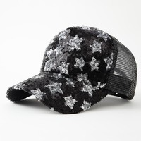 5 Panels Summer Mesh Baseball Cap Sequins Stars Caps Snapback Casquette Men Women Casual Gorras
