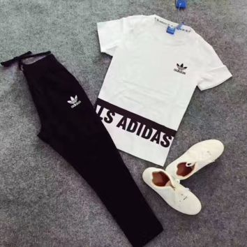 """""""Adidas"""" fashion casual clover alphabet short sleeve printed two sets"""