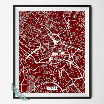 Leeds Street Map, England Poster, Leeds Print, England Print, Yorkshire, United Kingdom, Map Print, Home Decor, Wall Print, Back To School