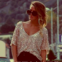 3/4 Sleeves Casual Sequin V-neck Sexy Club Blouse