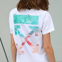 OFF WHITE Fashion Women Men Print Short Sleeve Cotton T-Shirt Top Blouse