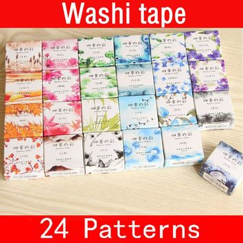 24pcs/set 15mmX7m Washi Tape Japanese Washi Decorative Adhesive Tape DIY Masking Paper Tape Sticker Stationery tape 02449