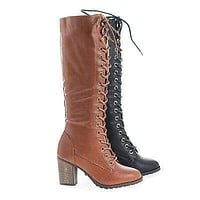 Rattle18 by Bamboo, Knee High Combat Lace Up Faux Wooden High Heel Boots