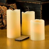 Lily's Home Ivory Pillar Flameless Candles with Remote Control, Set of 3