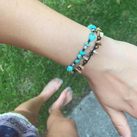 Turquoise and silver bead adjustable crocheted bracelet boho chic style