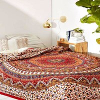 Kerra Mandala Bohemian Boho Orange Mix Wall Beach Bed Tapestry