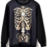 Mechanism Chest Bone Print Sweatshirt - OASAP.com