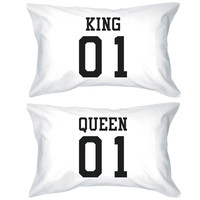 King 01 Queen 01 Couple Pillowcase Set Matching Pillow Covers for Couples