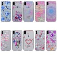 Soft TPU Cases For Apple iphone X 10 Case Cover Silicone For iphone X 10 Cover fashion flower Patterned Cover For iphone8 Phone Cases