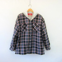 20% OFF SALE Vintage Flannel Jacket. Lined Plaid Wrangler Shirt jacket with hood. Insulated Shirt. Fall Coat. Thick Flannel Jacket hoodie