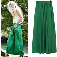 New Women Long Skirt 18 Color Pastel Candy Coloured Pleated Chiffon Maxi Skirts Spring Summer Skirts  skirts womens