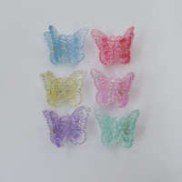 Butterfly Clips 90s Pastel Glitter Kawaii Soft Grunge Mini Hair Accessories Clips Rainbow Shimmer Sparkle Silver Glitter 2000s 1990s