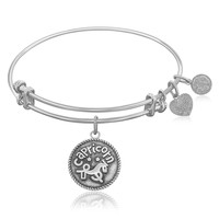 Expandable Bangle in White Tone Brass with Capricorn Symbol
