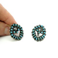 Native American Turquoise Earrings Sterling Silver Early Zuni Petit Point Snake Eyes Gemstone Open Ovals Rope Screw Backs Vintage 1940s 50s
