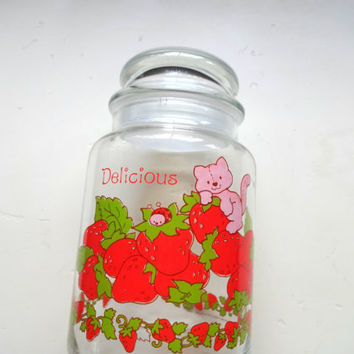Vintage Strawberry Shortcake Glass Canister 1980