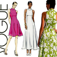 Vogue Dress Pattern V8808 Uncut Formal Evening Maxi Cocktail Bridal Prom Princess Seam Bias Collar and Cut Out Armhole Womens Sewing Pattern