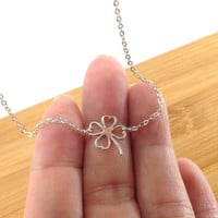 Sterling Silver Four Leaf Clover Neckalce, Thin Delicate Necklace, Layering Necklace, Gifts for Her . Bridesmaid Necklace, Jewelry