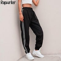 Rapwriter Fashion Side Stripe Letter Sweatpants Women 2018 Autumn Stretch High Waist Pencil Streetwear Cargo Jogger Pencil Pants