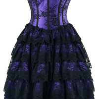 Atomic Purple Floral Victorian Lace Corset Dress
