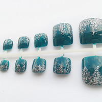 Teal Glitter Hand Painted False Toe Nails, Fake Toenails, Artificial Nail Set