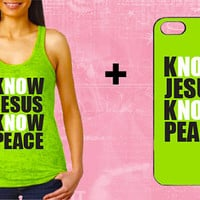 know jesus no peace Burn out GYM TANK with matching phone Case