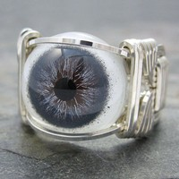 Slate Blue Glass Eye Eyeball Sterling Silver Wire by kimsjewels