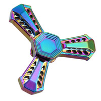 new rainbow Armor Fidget Spinner Metal EDC Tri Hand Finger Spinner For Autism And ADHD Focus Anxiety Relief Stress Toy Gifts