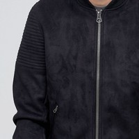 ASOS Faux Suede Bomber with Quilted Sleeve In Black