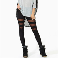 Thigh Stripe Spliced Slim Leg Mid Waist Legging in Soft Cotton