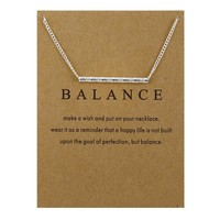 Silver Bar Card Alloy Clavicle Pendant Necklace   171212