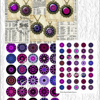 Kaleidoscope Purple Rain Art - Digital Collage Sheets - 1.5, 1.0 inch Circles for Jewelry Supplies, Pendants, Arts & Crafts Projects