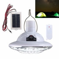 Hot Sale 22 LED Solar Powered Yard Outdoor Hiking Tent Light Camping Hanging Lamp With Remote Control Pure White