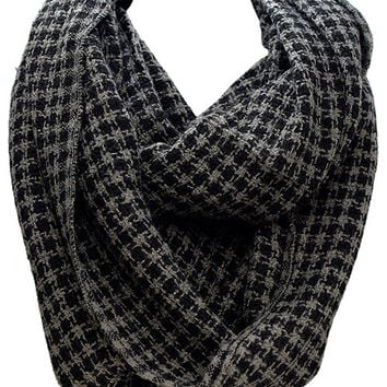 Black and Grey Houndstooth Scarf