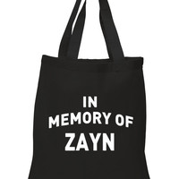 """One Direction """"In Memory of Zayn"""" 100% Cotton Tote Bag"""