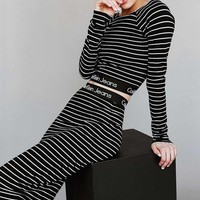 Calvin Klein Fashion Stripe Long Sleeve Set Two-Piece Mini Dress