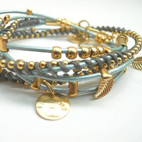 Round Turquoise Leather Wrap Bracelet with Gold plated Elements