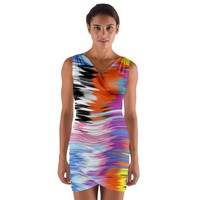 Waves Wrap Front Bodycon Dress