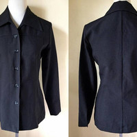 black long sleeved button down blouse (small to medium), blazer jacket