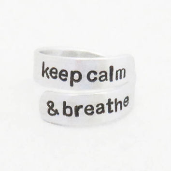 Keep calm and breathe ring - Suicide prevention anxiety depression awareness jewelry token reminder