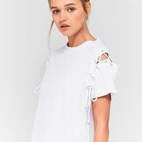 Light Before Dark Lace-Up Sleeve T-Shirt   Urban Outfitters