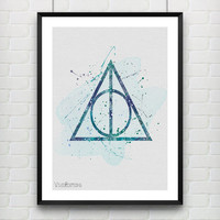 Harry Potter Poster, The Deathly Hallows Watercolor Art Print, Kids Decor, Wall Art, Home Decor, Not Framed, Buy 2 Get 1 Free! [No. 12]